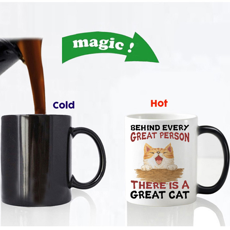 behind every great person is a great cat magic mug