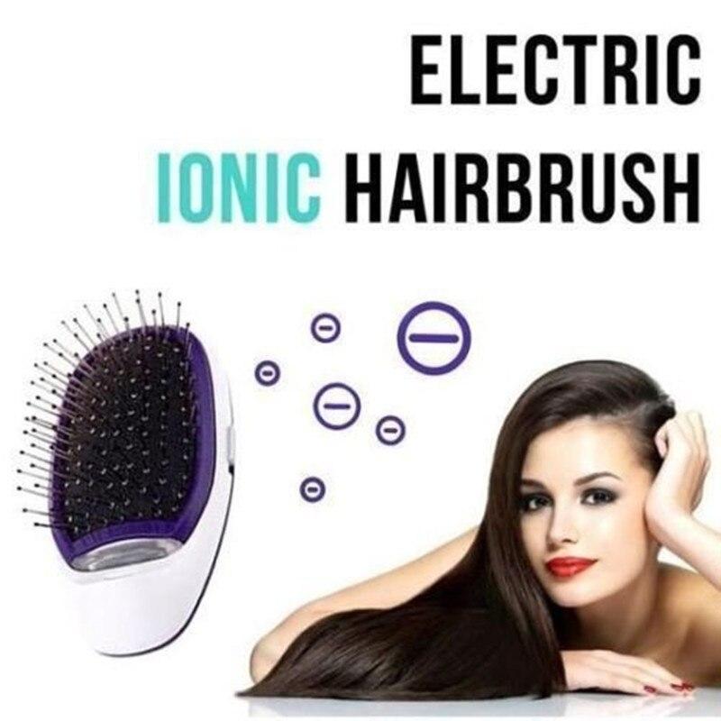 Pelo portátil cepillo iónico plancha de pelo cepillo iones negativos peine masaje anti-estática peine del pelo recto