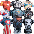 Short Sleeves Mens Skin Rash Guard Complete Printing Compression Shirts Multi-use Fitness MMA Running Body Building Tops