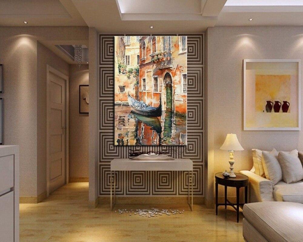 Handmade Countryside Nhà Cảnh Quan Palette Knife Canvas Sơn Hand Painted trong Dầu Thở Hổn Hển của một chiếc Thuyền tại Ý Tường tác phẩm nghệ thuật