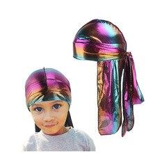 Unisex Kids Long Silk Laser Breathable Bandana Turban Lacing Silky Headband Elastic Satin Du-rag Tail Headwear boys