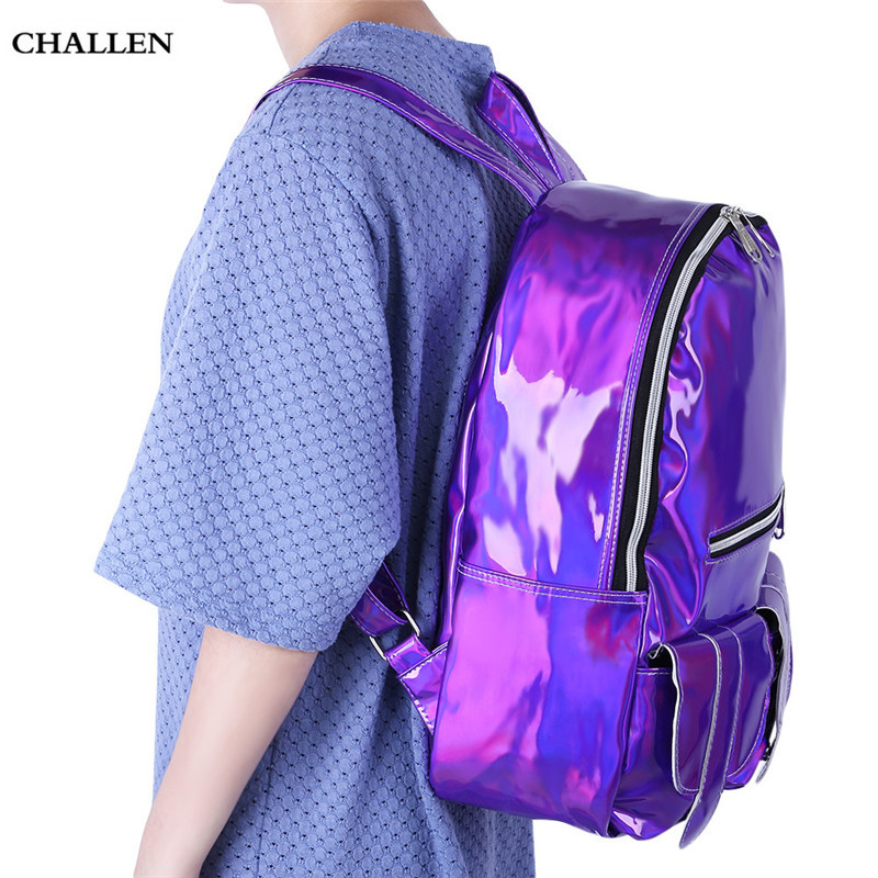 Girl Preppy Style Laser Backpack School Solid Color Travel Shopping Portable Backpack Closure Type Zipper and