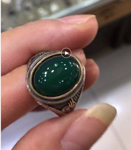 Sterling Silver Ring Thai Silver Green Natural ston Delicate Carve Patterns Or Designs On Woodwork Restoring Ancient Ways Ms Mal thailand hollow out carve patterns or designs on woodwork restoring ancient ways is pure silver key pendant