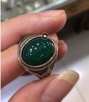 Sterling Silver Ring Thai Silver Green Natural ston Delicate Carve Patterns Or Designs On Woodwork Restoring Ancient Ways Ms Mal