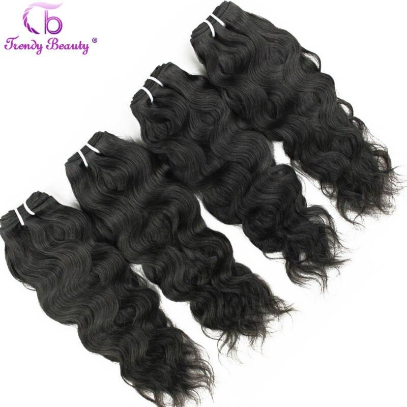 トレンディ美髪ブラジルの自然な波 4 個たくさんの自然な黒色 8 30 インチ染色することができる非レミーの毛延長  グループ上の ヘアエクステンション & ウィッグ からの 3/4 バンドル の中 1