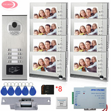 "8 Apartment 7"" Color Intercom System Video Door Phone Intercom 8 Buttons +8 GB SD Cards  Electric Strike Lock Home Security Kit"
