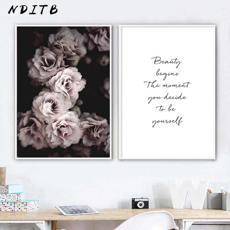 Rose Flower Canvas Art Poster Botanical Decorative Print Wall Painting Nordic Style Picture Living Room Scandinavian Home Decor