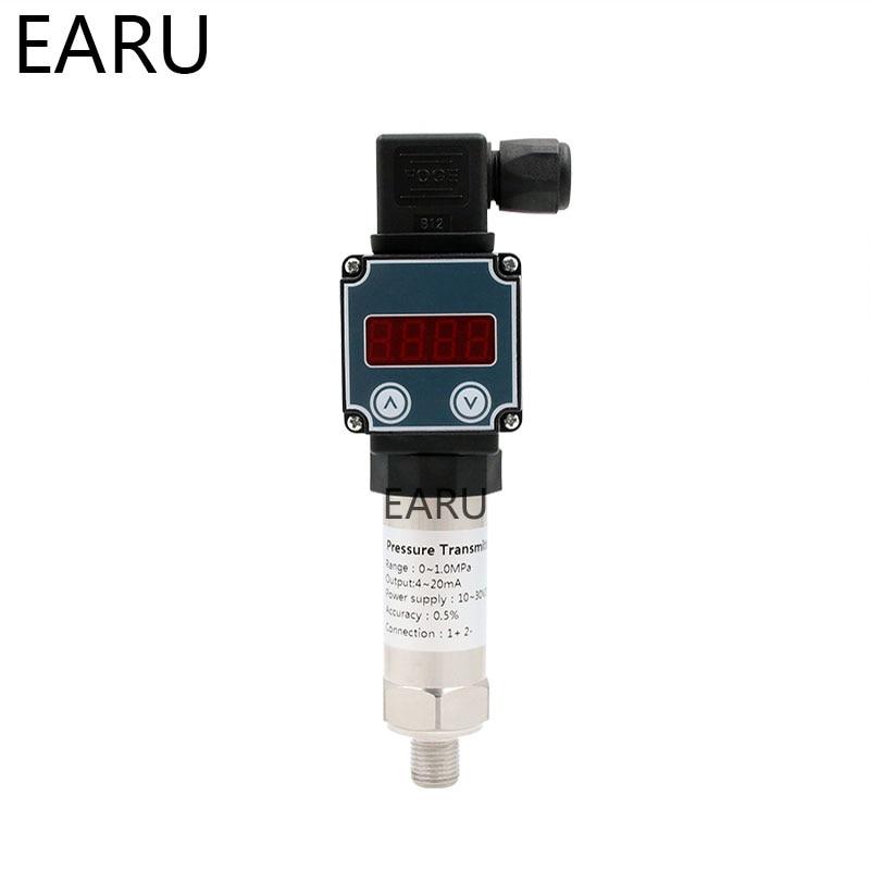 1~0~10bar/16bar/6bar/25bar, 10 30VDC, G1/4, 4 20mA Output, 0.5%, Pressure Transmitter Pressure Transducer Sensor LCD Display