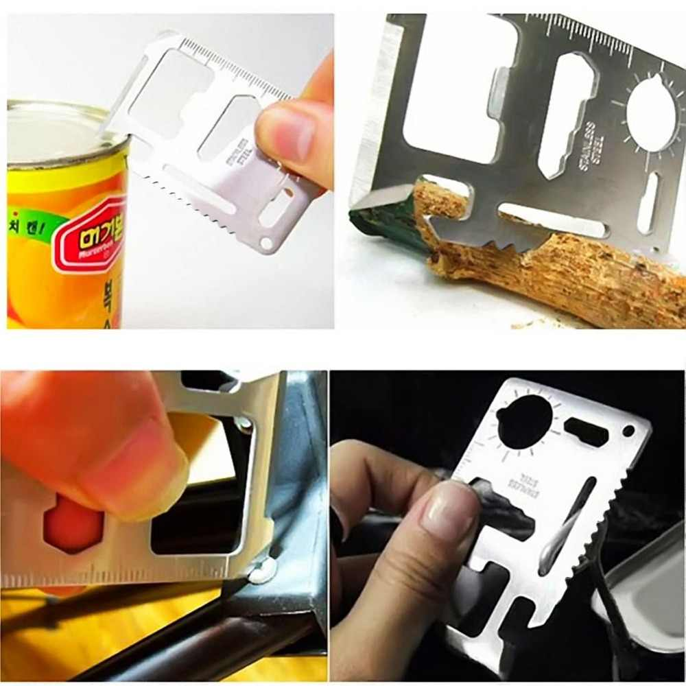 Multifuncional cartão de crédito abridor de garrafa cerveja abridor de garrafa de aço inoxidável acampamento ao ar livre faca sobrevivência cozinha ferramenta acessório