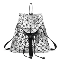 ALIEME Fashion Backpack Women Drawstring Diamond Lattice Geometry Quilted Ladies Backpack Sac Bag Teenage Girl School