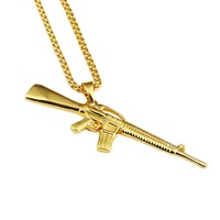 NYUKI New Style Fashion Men Jewelry Army Bullet With Bling Rhinestone Pendant Necklace Vintage Gold Hip