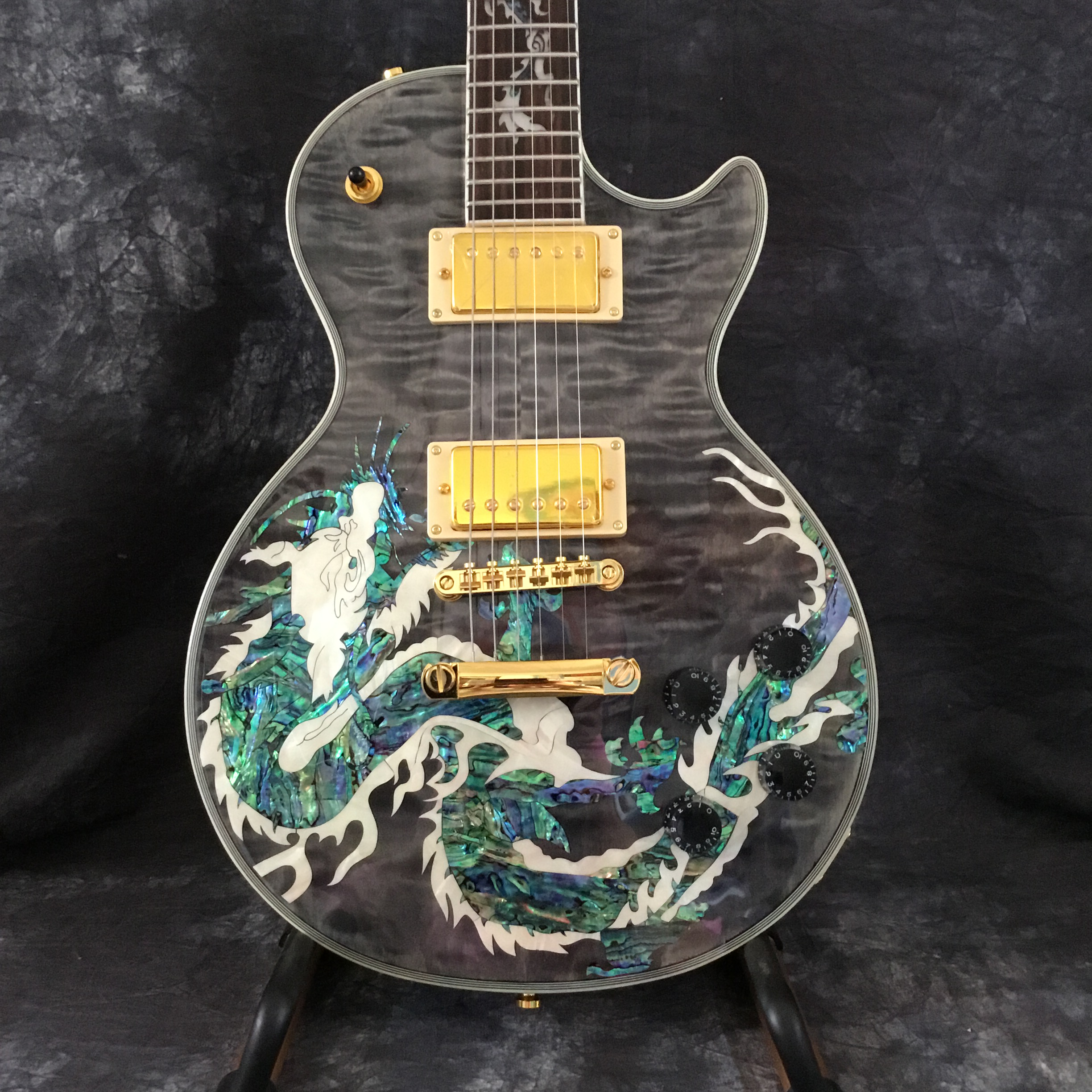 Hot High Quality Wholesale Dragon Pattern Top G Custom Electric Guitar and Guitar for Free Shipping(China)