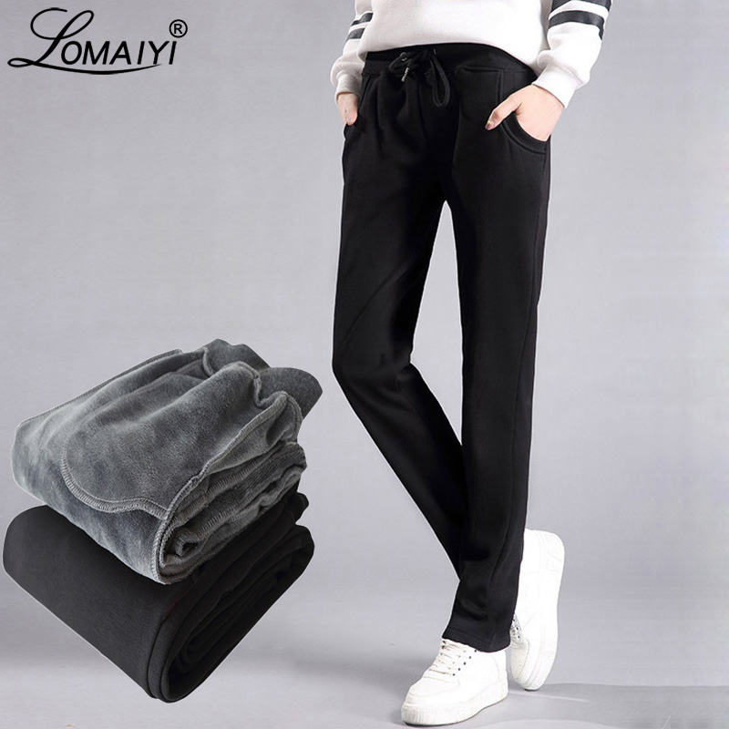 LOMAIYI Plus Size Winter Warm Pants For Women Korean Sweatpants Women's Trousers Female Black Soft Fleece Cotton Pants BW032