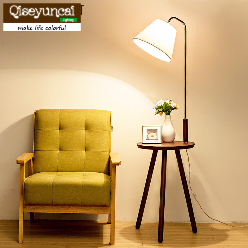 Qiseyuncai Nordic living room wood floor lamp personality creative fashion triangle shelf with coffee table sofa floor lamp