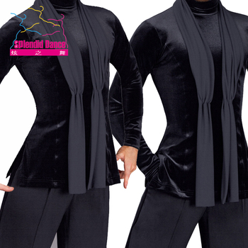 customized Fantasia Latin Dance Tops Black Long Sleeve high quality stretch Shirt New Men Ballroom Competitive Shirts
