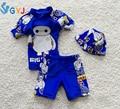 Maiô bebê meninos 90 cm - 115 cm grande herói 6 baymax criança meninos swim suit azul amarelo infantil baby maiô 3 peça swimwear