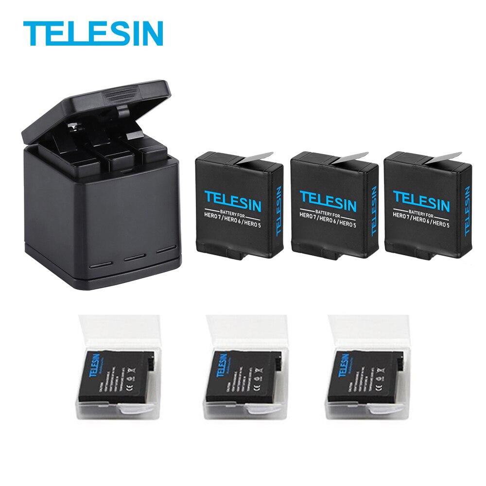 TELESIN 3Way LED chargeur de batterie boîtier de charge étui de transport et 3 batterie pour GoPro Hero 7 6 Hero 5 noir accessoires ensemble