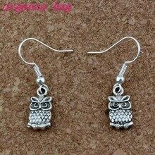 Cute Owl Earrings Silver Fish Ear Hook 24pairs/lot Antique Chandelier Jewelry 7x32mm A-230e