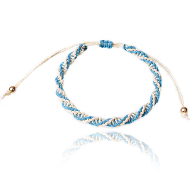 Waterproof Dna Braided Spiral Knot Pull Cord Macrame Wax String Surf Bracelet Friendship Men Women