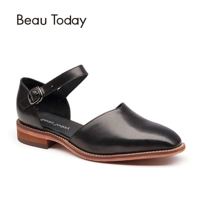 BeauToday Frauen Sandalen Aus Echtem Leder Karree Schnalle Schaffell Marke Abdeckung Ferse Schuhe Handgemachte 30013-in Flache Absätze aus Schuhe bei  Gruppe 2