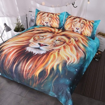 Gold Lion Bedding, Artistic Lion Face Duvet Cover 3D Oil Painting, 3 Piece Wild Animal Bed Covers, Teal Blue