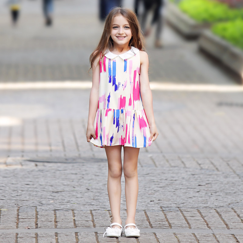 2016 Teen Girls Dresses Paint Scrawl Colorful Pink Blue Dress School Frock Design Age5 6 7 8 9 10 11 12 13 14Years Old - Baby Shally's Shop store