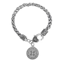 Skyrim Vintage Jewelry Findings Wicca Wheat Chain Bracelets With Pewter Dragon Shield for Military Amulet Floating Charm