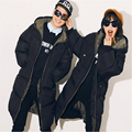 2016 Winter Jacket Women  Casual Loose Plus Size Wadded Jacket Cotton Padded Jacket Long Parka Hooded Down Coat D824