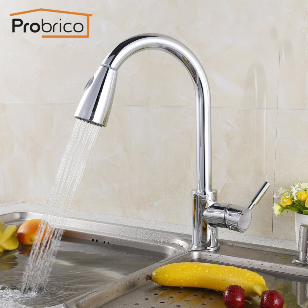 Probrico Polished Chrome Mixer Water Tap Pull Down Out Swivel Spout Kitchen Sink Faucet Brass KFQY0202PC USA Domestic Delivery solid brass led swivel spout kitchen sink faucet pull out mixer tap chrome polished