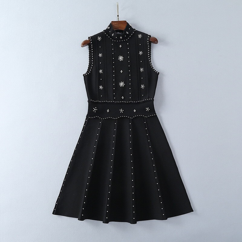 Printemps Haute Nu Dos Robe Grâce Mini Couture Xl Gloria Perles Noir Et Tricoté 2019 Élégant Été Sexy lKTcF1J