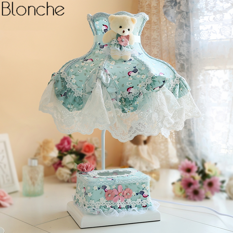 Korean Princess Lace Table Lamp with Tissue Box Led Stand Desk Light Bedroom Bedside Lamp Romantic Light Fixtures Home Decor E27 european led table lamp bedroom bedside lamp stand desk light retro princess wedding room decoration dimming lighting fixtures