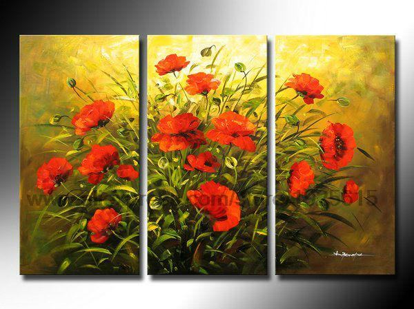Wall White Restaurant Background Oil Paintin 3 pcs Flowers Painting ...