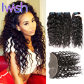 7A Water Wave Frontal Closure with Bundles Brazilian Virgin Hair Water Wave with Closure Curly Human Hair Weave With Closure