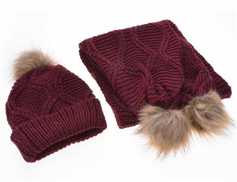 Зимние Для женщин шапки и шарфа Pom Hat Модные женские крючком шарф осенний комплект шапка Кепки