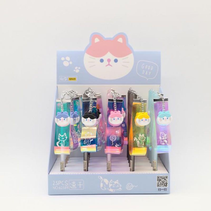 5 Pz/set Kawaii Di Colore Abbaglia Animale Gatto Birichino Laser Del Pendente Del Nastro Gel Penne Penna Firma Studente Fornitura Di Cancelleria Da Processo Scientifico