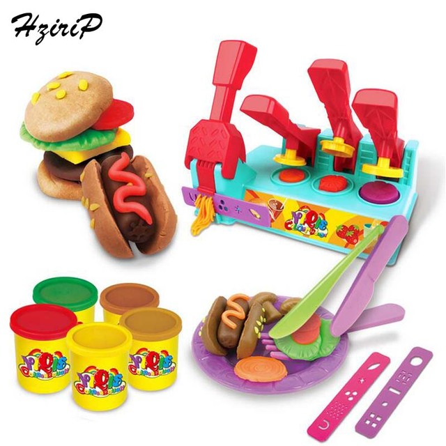 Hzirip 21pcs Colored Clay Toys Diy Foods Hamburgers Machine Pretend