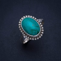 Natural Turquoise Handmade Unique 925 Sterling Silver Ring 9 A4108