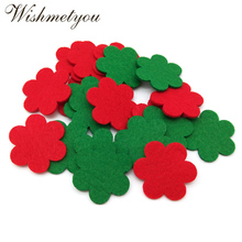 WISHMETYOU 20pcs 35mm Mix Color Flowers Felt Fabric Cute Patch Embellishment Crafts Home For Decor Scrapbooking Cardmaking