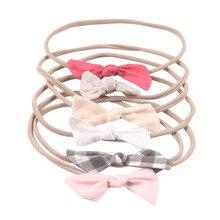 6 unids set bandas de pelo de nailon de tela de Nudo sólido a la moda para  niños niñas cinta elástica suave accesorios para el c. 49c6f0c3bcb1