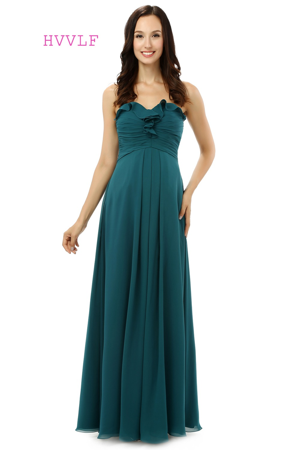 Dark Green 2019 Cheap   Bridesmaid     Dresses   Under 50 A-line Sweetheart Floor Length Chiffon Pleated Long Wedding Party   Dresses