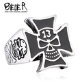 Lucky13 Skull ring Factory Price 316L Stainless Titanium Steel Cross Skull Man Ring Jewelry BR8-262