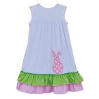 Factory Selling Baby Girls Summer Dress Ruffle White Sleeveless Rabbit Design Embroidered Kids Fashion Oufits E006
