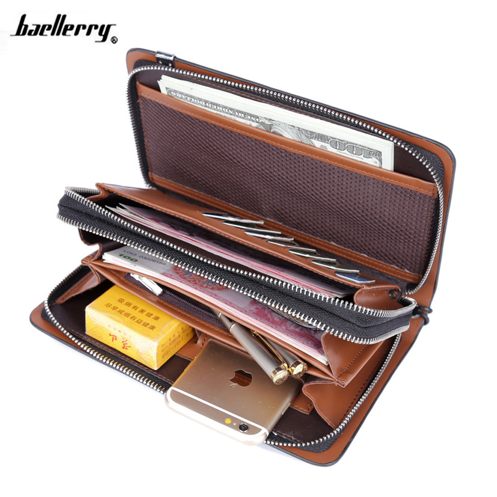2016 New Brand Men Long Wallets 100% Genuine Leather Long Double Zipper Wallet Male High Capacity Clutch Handy Bags Purses 2016 famous brand new men business brown black clutch wallets bags male real leather high capacity long wallet purses handy bags