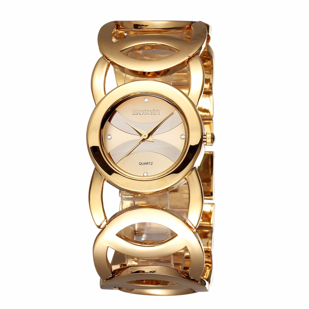 ФОТО Original WEIQIN Brand Luxury Crystal Gold Shock Watches Women Fashion Bracelet Quartz Watch Waterproof Relogio Feminino reloj