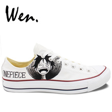 621cfa6710b7 Wen White Low Top Canvas Shoes Custom Design One Piece Luffy Zoro Hand  Painted Shoes Women