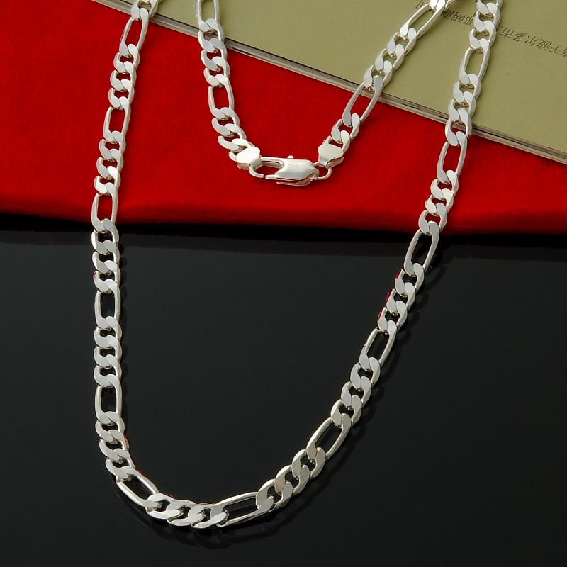 16-24 zoll 8 MM Figaro Ketten Halsketten großhandel silber mode - Modeschmuck - Foto 1