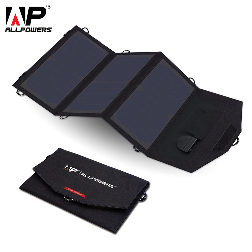 ALLPOWERS 5V 18V 21W Portable Solar Phone Charger Solar Laptop Charger Car Charger for iPhone Samsung