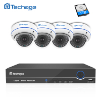 Techage 4CH 8CH 1080P POE NVR DVR 2 0MP CCTV System Vandalproof Dome IP Indoor Camera