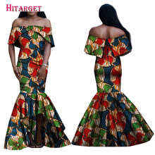 African Dress Summer 2017 Maxi Print Mermaid Slash Neck Dresses Traditional Africa Style Clothing Plus Size 6XL WY1665