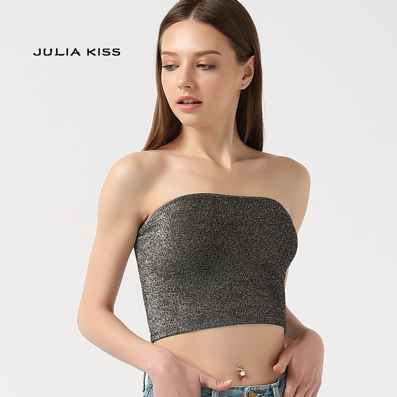 Women Sparkle Tube Crop Tops Bling Bling Camis Sexy Crop Tops